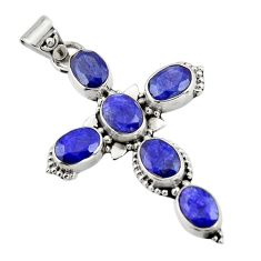 925 sterling silver 8.80cts natural blue sapphire oval cross pendant r20794