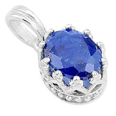 925 sterling silver 2.95cts natural blue sapphire oval crown pendant t5139