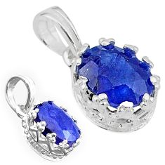 925 sterling silver 2.71cts natural blue sapphire oval pendant jewelry t22283