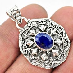 925 sterling silver 3.25cts natural blue sapphire oval pendant jewelry t42945