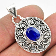 925 sterling silver 3.00cts natural blue sapphire oval pendant jewelry t42964