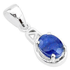 925 sterling silver 2.06cts natural blue sapphire oval pendant jewelry t5124