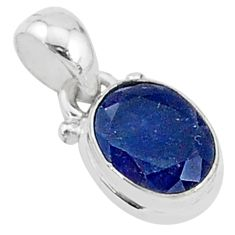 925 sterling silver 2.42cts natural blue sapphire oval pendant jewelry t5274