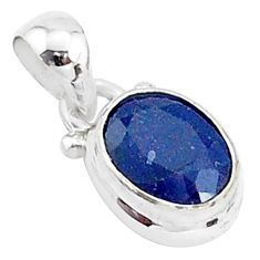925 sterling silver 2.93cts natural blue sapphire oval pendant jewelry t5523