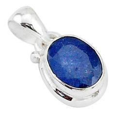 925 sterling silver 2.96cts natural blue sapphire oval shape pendant t5529