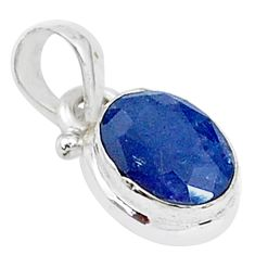 925 sterling silver 3.21cts natural blue sapphire oval shape pendant t5535