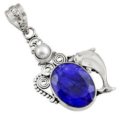 Clearance Sale- 925 sterling silver 11.95cts natural blue sapphire pearl dolphin pendant d39354