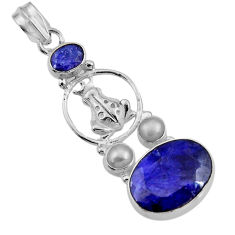 925 sterling silver 14.50cts natural blue sapphire pearl frog pendant d43864