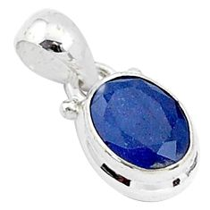 925 sterling silver 2.95cts natural blue sapphire pendant jewelry t5526