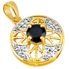 925 sterling silver natural blue sapphire round 14k gold pendant jewelry c22797
