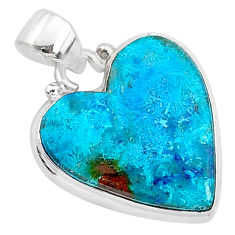 925 sterling silver 11.17cts natural blue shattuckite heart pendant r95033