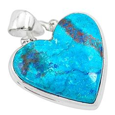 925 sterling silver 13.15cts natural blue shattuckite heart pendant r95043