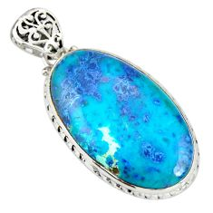 925 sterling silver 28.30cts natural blue shattuckite oval pendant r20844