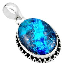 925 sterling silver 14.65cts natural blue shattuckite oval pendant r53845