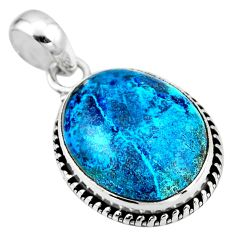 925 sterling silver 14.23cts natural blue shattuckite oval pendant r53849
