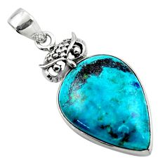 925 sterling silver 16.73cts natural blue shattuckite pear owl pendant r50434