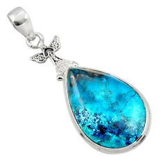 925 sterling silver 17.57cts natural blue shattuckite pear pendant r50452