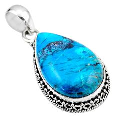 925 sterling silver 18.15cts natural blue shattuckite pear pendant r53867