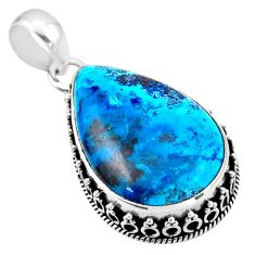 925 sterling silver 20.07cts natural blue shattuckite pear pendant r53870