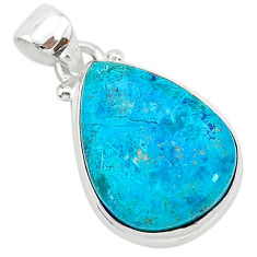 925 sterling silver 11.73cts natural blue shattuckite pear pendant r94952