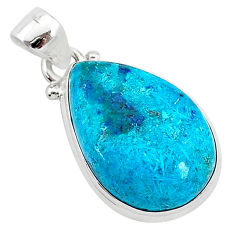 925 sterling silver 12.55cts natural blue shattuckite pear pendant r94964