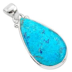 925 sterling silver 12.18cts natural blue shattuckite pear pendant r95027