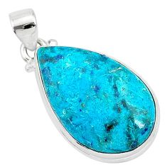 925 sterling silver 16.20cts natural blue shattuckite pear pendant r95053
