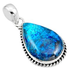 925 sterling silver 15.08cts natural blue shattuckite pear shape pendant r53904