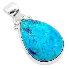 925 sterling silver 11.17cts natural blue shattuckite pear shape pendant r94938
