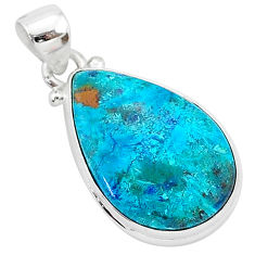925 sterling silver 12.22cts natural blue shattuckite pear shape pendant r94996