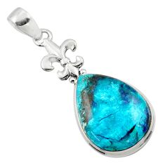 925 sterling silver 18.15cts natural blue shattuckite pendant jewelry r50446