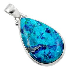 925 sterling silver 17.65cts natural blue shattuckite pendant jewelry r50515