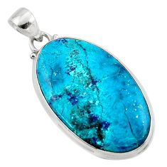 925 sterling silver 19.07cts natural blue shattuckite pendant jewelry r50519
