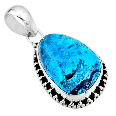 925 sterling silver 14.23cts natural blue shattuckite pendant jewelry r53843