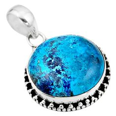 925 sterling silver 14.72cts natural blue shattuckite pendant jewelry r53853