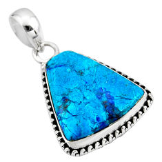 925 sterling silver 13.15cts natural blue shattuckite pendant jewelry r53874