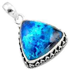 925 sterling silver 19.72cts natural blue shattuckite pendant jewelry r53944
