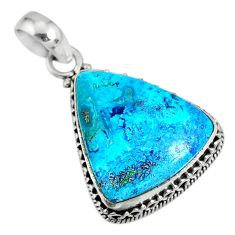 925 sterling silver 16.70cts natural blue shattuckite pendant jewelry r76489