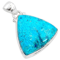 925 sterling silver 14.72cts natural blue shattuckite trillion pendant r95024