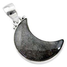 925 sterling silver 9.72cts moon blue sheen black obsidian pendant t21807