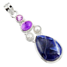 925 sterling silver 18.15cts natural blue sodalite amethyst pearl pendant d44692