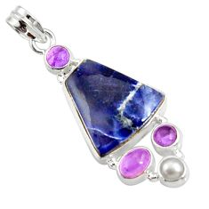 Clearance Sale- 925 sterling silver 17.22cts natural blue sodalite amethyst pearl pendant d44697