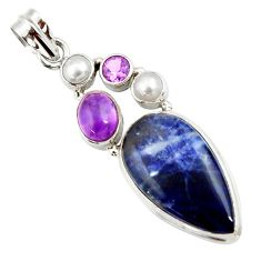 925 sterling silver 19.23cts natural blue sodalite amethyst pearl pendant d44700