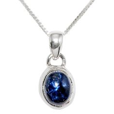 925 sterling silver 4.02cts natural blue star sapphire 18' chain pendant r36419