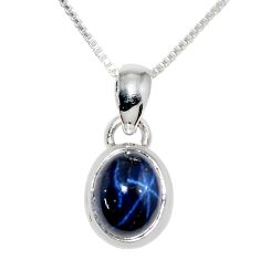 925 sterling silver 4.22cts natural blue star sapphire 18' chain pendant r36431