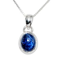925 sterling silver 4.04cts natural blue star sapphire 18' chain pendant r36435