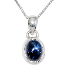 925 sterling silver 4.16cts natural blue star sapphire 18' chain pendant r36440