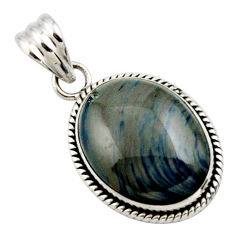 925 sterling silver 16.20cts natural blue swedish slag oval pendant r27690