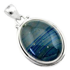 925 sterling silver 17.65cts natural blue swedish slag oval pendant t38764