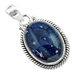 925 sterling silver 14.20cts natural blue swedish slag oval pendant t38773